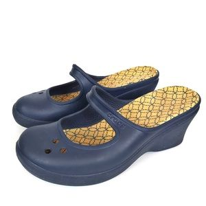 CROCS Blue Frances MaryJane Wedge Clogs-Size 10